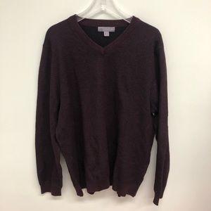 CloudVeil   Men's Knit V-Neck Sweater   Burgundy